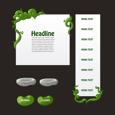 Set of fantasy game interface elements with stone and bean buttons and beanstalk menus and windows Illustration