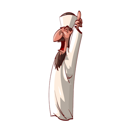 Colorful vector illustration of an angry, infuriated imam, screaming and shouting. Illustration