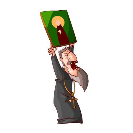 Illustrazione del fumetto di un sacerdote o monaco ortodosso orientale arrabbiato, tenente un'icona Vettoriali