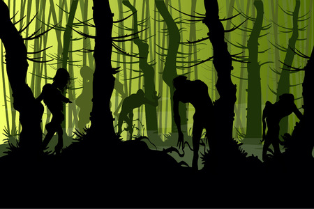 rot: Vector illustration of zombies roaming a creepy night forest with mist