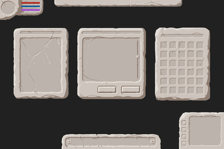 scrollbar: Set of vector stone interface elements for a fantasy game. Illustration