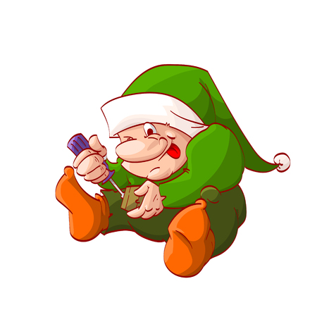dwarf christmas: Colorful vector illustration of a cartoon christmas elf or dwarf, fixing or building toy with screwdriver