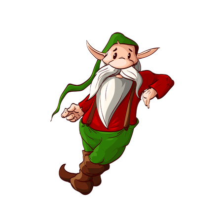 dwarf christmas: Colorful vector illustration of a dwarf or a christmas elf leaning