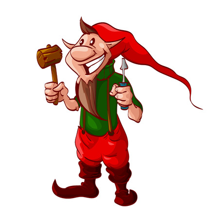 Colorful vector illustration of a Smiling cartoon christmas elf or a dwarf worker, holding screwdriver and a wooden hammer. Stock Illustratie