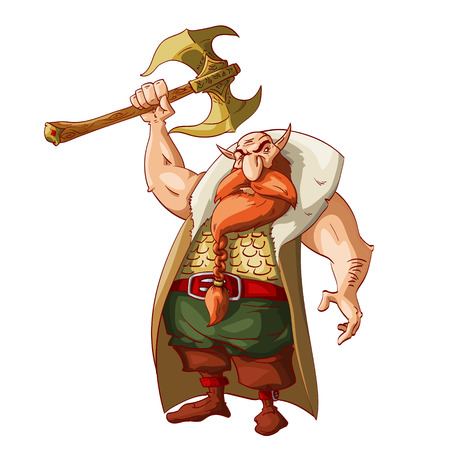 Colorful vector illustration of a cartoon fantasy dwarf warrior, armed with huge golden battle axe