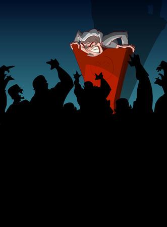 Cartoon vector illustration of a far right, nationalist politician, giving a speach from a podium, spreading hate and propaganda Vektoros illusztráció