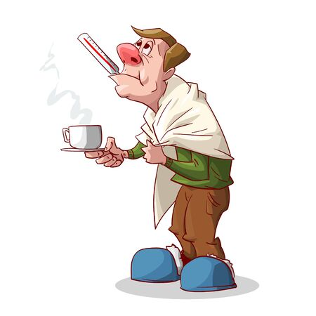 Colorful vector illustration of a cartoon sick man with red nose, having a cold or a flu, with a blanket, holding a glass of hot tea or medicine in his hand and a thermometer in his mouth.