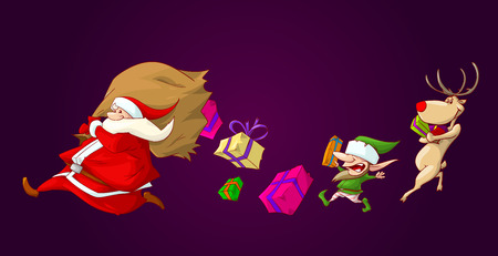 runing: Colorful vector illustration of santa runing with his big bag, which has a hole it it, and presents falling on the ground. His helpers a christmas elf and a raindeer runing to gather them.