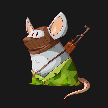 Colorful vector illustration of a cartoon mouse or rat terrorist, wearing a mask, camouflage clothes and armed with an assault rifle Illustration