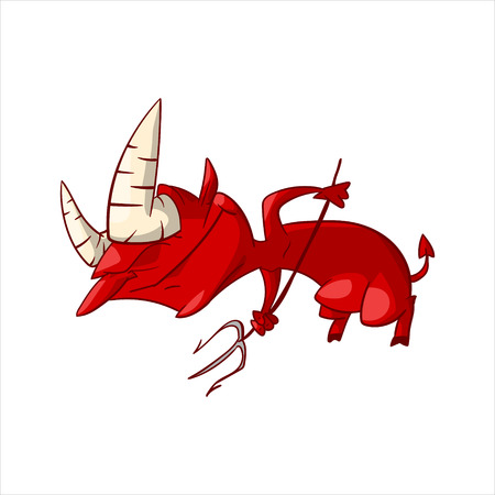 Colorful vector illustration of a cartoon red demon, imp or devil
