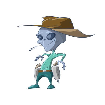 Colorful vector illustration of a cartoon grey Alien Illustration