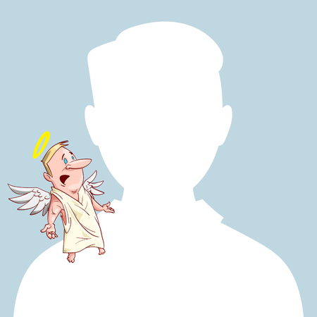 Blank male avatar or profile picture with angel conscience character on his shoulder advising him. Illustration
