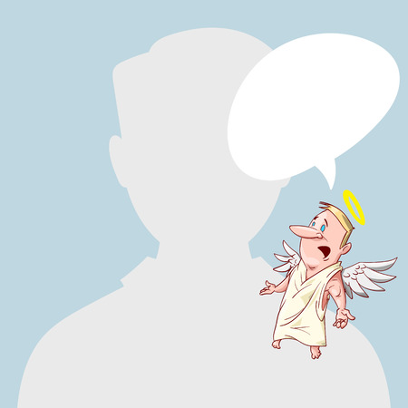 conscience: Blank male avatar or profile picture with angel conscience character on his shoulder advising him. Illustration