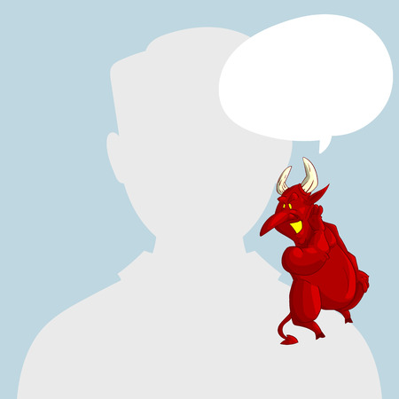 Blank male avatar or profile picture with devil conscience character on his shoulder advising him. Illustration