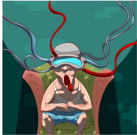 Kleurrijke vector illustratie van een man, gehersenspoeld door propaganda met een virtual reality-apparaat op zijn hoofd, het letten op social media Stock Illustratie