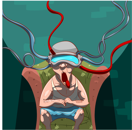 Colorful vector illustration of a man, brainwashed by propaganda with a virtual reality device on his head, watching social media