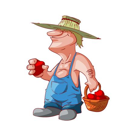 Colorful vector illustration of a cartoon farmer or redneck Illustration