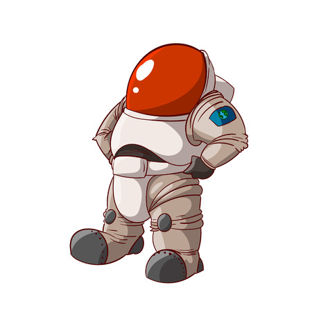 Colorful vector illustration of a cartoon expedition member, astronaut or a cosmonaut in suit on mars or in space. Illustration
