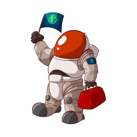 gravedad: ilustración vectorial colorido de un miembro de la expedición de la historieta, astronauta o un cosmonauta en juego en Marte o en el espacio.