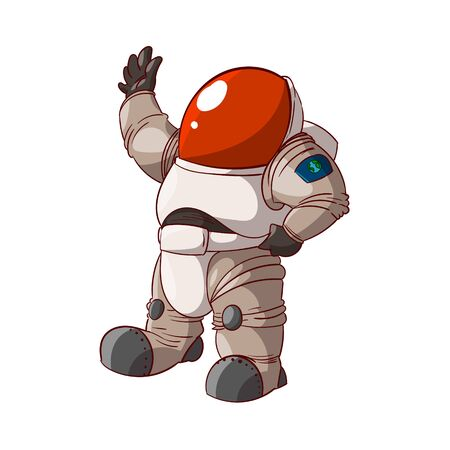 weightlessness: Colorful vector illustration of a cartoon expedition member, astronaut or a cosmonaut in suit on mars or in space. Illustration