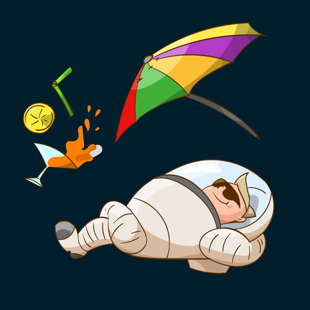 zero gravity: Colorful illustration of a space tourist in zero gravity, wearing a suit.