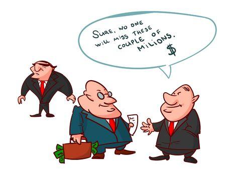 guardaespaldas: cómico colorido del vector de los políticos corruptos, mintiendo a la gente, para cubrir sus crímenes.