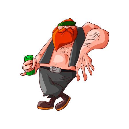 gang member: Colorufl vector illustration of a cartoon rocker, biker or gang member