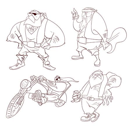 gang member: Line drawings vector illustration of a cartoon rocker, biker or gang member Illustration
