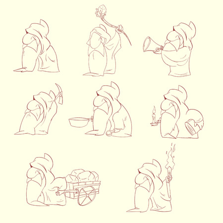 elf's: Line drawing vector illustration of a Cartoon dwarfs, elfs or gnomes