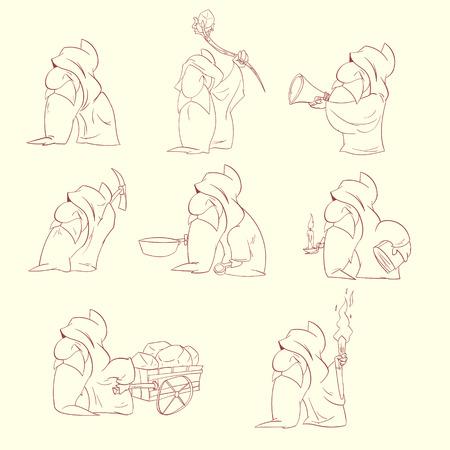 Line drawing vector illustration of a Cartoon dwarfs, elfs or gnomes