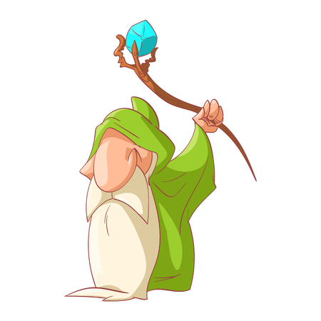 Colorful vector illustration of a Cartoon dwarf, elf or gnome