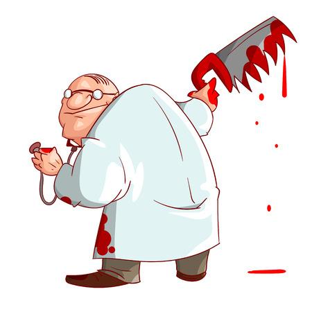 Bunte Vektor-Illustration eines Cartoon verrückten Arzt, hält eine blutige Säge und Blutflecken auf seine Kleidung und Hände
