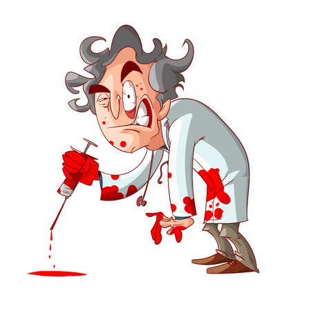 Colorful vector illustration of a cartoon crazy doctor, holding a bloody needle, and blood stains on his hands and clothes.