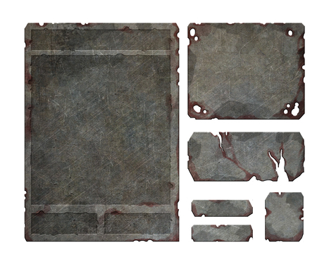 Set of realistic damaged, rusted metal user fantasy game interface elements, buttons menus and windows Reklamní fotografie