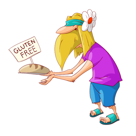 Colorful vector illustration of a cartoon blonde male hippy promoting gluten free food, bread.