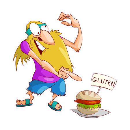 Colorful vector illustration of a cartoon blonde male hippy upset and disturbed by a non gluten free food, sandwich.