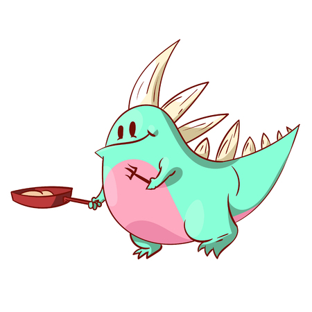 Colorful vector illustration of a cute dinosaur or a dragon, cooking
