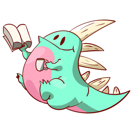 Colorful  cute dinosaur or a dragon, reading a book and having a cup of coffee or tea Illustration