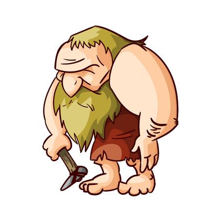 Colorful vector illustration of a cartoon caveman.