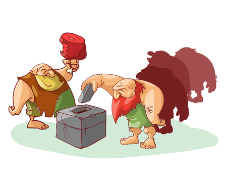 Vector illustration of group of cavemen voting, misled by cheap promises of food.