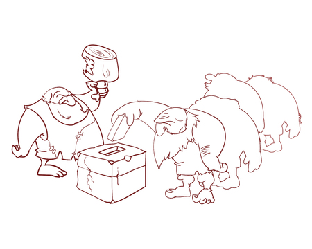 Line drawing Vector illustration of group of cavemen voting, misled by cheap promises of food