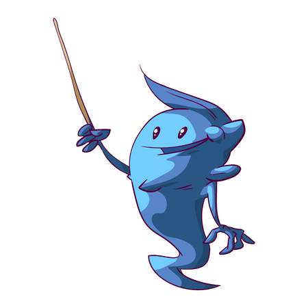 Colorful vectort illustration of a cuite genie kid with a pointer, presenting