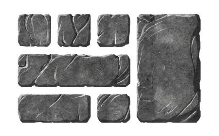 Een set van realistische stenen interface knoppen en fantasie-elementen. Getextureerde tabletten en panelen.