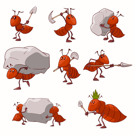 Collection of colorful vector illustrations of cartoon red ant colony Ilustração