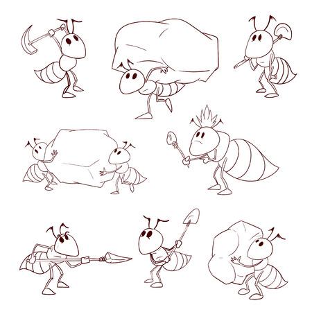 Interior Y La Vida Familiar De Las Hormigas En Un Hormiguero Para ...