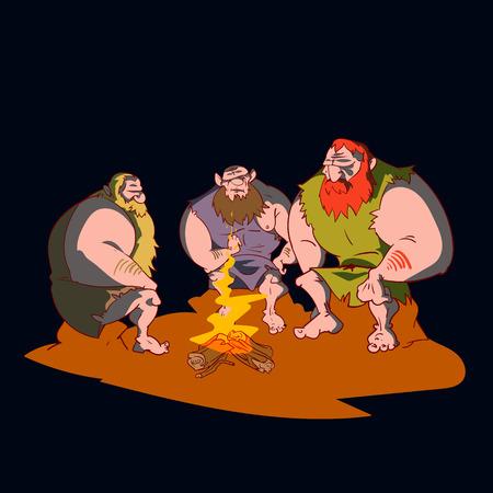 Colorful vector illustration of three cavemen sitting around a campfire at night. Ilustração
