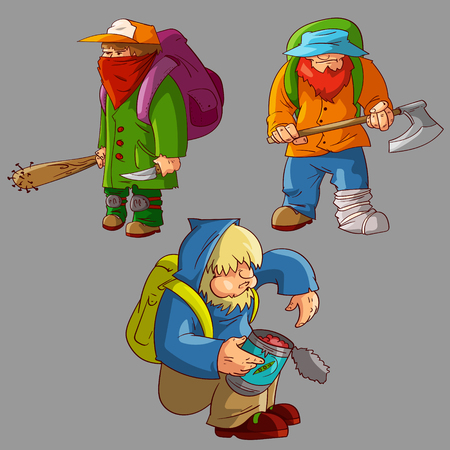 Verzameling van kleurrijke post-apocalyptische mannelijke overlevenden Stock Illustratie