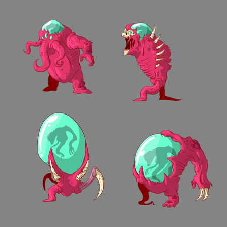Collection of colorful vector illustrations of alien mutant monsters