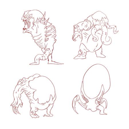 Verzameling van lijn getekende vector illustraties van buitenaardse mutante monsters