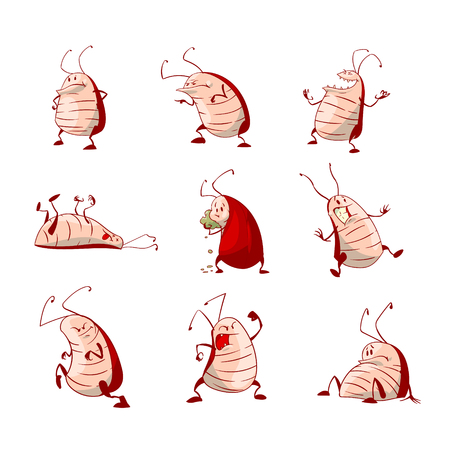 Collection of colorful vector cartoon cockroaches
